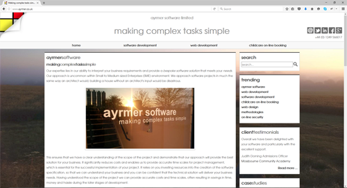 desktop version of new responsive website design for ayrmer.co.uk