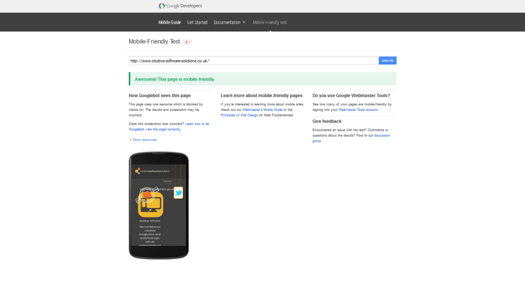 Google's mobile friend test results for intuitive-software-solutions.co.uk